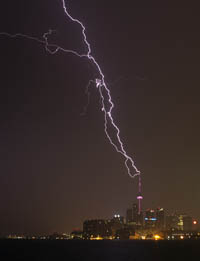Cn Tower Lightning Strikes - July 07 2014