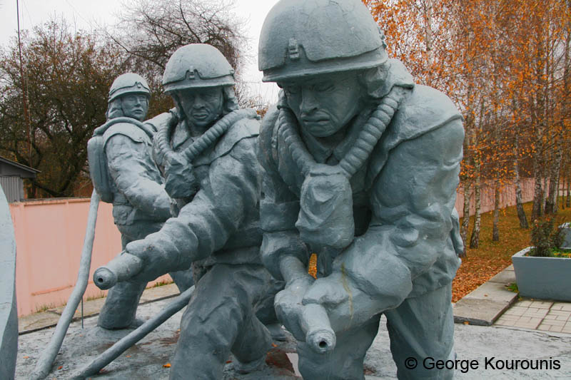 A memorial to the firefighters who died at Chernobyl